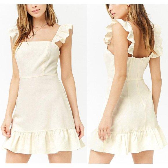 Bleuh Ciel Dresses & Skirts - NEW Cream Ivory Ruffle Linen Blend Cute Mini Dress